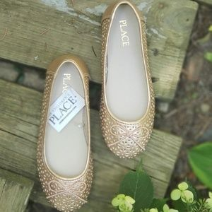 NWT Children's Place rose gold ballet shoes